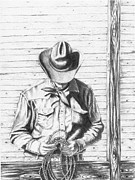 American West Drawings - Lt by Lawrence Tripoli