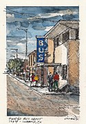 Greyhound Mixed Media Framed Prints - Lubbock Bus Station Framed Print by Tim Oliver