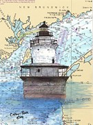 New England Lighthouse Paintings - Lubec Channel Lighthouse ME Nautical Chart Map Art  by Cathy Peek