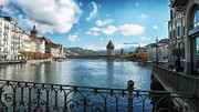 Outdoor Cafes Posters - Lucerne in Autumn Poster by Mountain Dreams