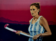 Hockey Art Painting Posters - Luciana Aymar Poster by Paul  Meijering
