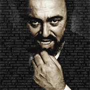 Italian Mixed Media Framed Prints - Luciano Pavarotti Framed Print by Tony Rubino