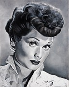 Tv Painting Posters - Lucille Ball Poster by Brian Broadway