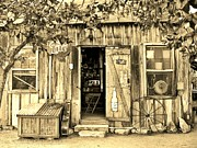Hdr Effects Photos - Luckenbach Texas sepia by Elizabeth Sullivan
