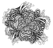 Pen And Ink Drawing Prints - Lucky 4 Leaf Clover Print by Meldra Driscoll