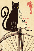 Canvas Wine Prints Digital Art Posters - Lucky Black Cat Poster by Anthony Poynton