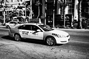 Speeding Taxi Prints - lucky cab speeding down Las Vegas boulevard Nevada USA deliberate motion blur Print by Joe Fox