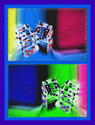 Knick Knacks Posters - Lucky Dice Diptych - Mirrored Images Poster by Steve Ohlsen