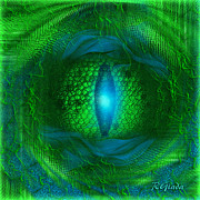 Green Skin Digital Art - Lucky Dragons Eye - by Giada Rossi by Giada Rossi