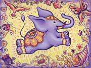 Lucky Elephant Purple Print by Judith Grzimek