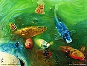 Koi Fish Drawings - Lucky Koi Pond  @ AriesArtist.com by AriesArtist Com