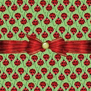 Red Ribbon Digital Art - Lucky Ladybugs by Debra  Miller