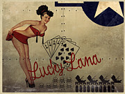 Airplanes Posters - Lucky Lana Noseart Poster by Cinema Photography