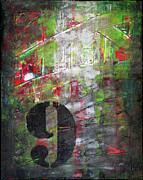 Abstract Expressionist Art - LUCKY NUMBER 9 green red grey black Abstract by Chakramoon by Belinda Capol