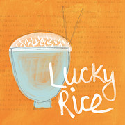 Blue Bowl Posters - Lucky Rice Poster by Linda Woods