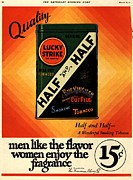 Thirties Drawings Posters - Lucky Strike 1930s Usa Cigarettes Poster by The Advertising Archives