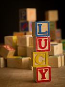 Lucy Framed Prints - LUCY - Alphabet Blocks Framed Print by Edward Fielding