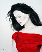 Asian Artist Drawings - Lucy Liu the Lady in Red by Jim Fitzpatrick