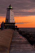 Ludington Pier And Lighthouse Print by Sebastian Musial