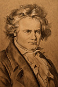 Orchestra Drawings Metal Prints - Ludwig van Beethoven Metal Print by Alyssa Kerr