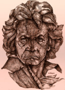 Sepia Ink Drawings - Ludwig van Beethoven by Derrick Higgins