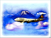 Lufthansa Framed Prints - Lufthansa Jumbo flying over Fuji Mountain Framed Print by Daniel Janda