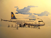 Lufthansa Paintings - Lufthansa plane by Juan  Bosco