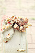 Wanderer Photos - Luggage and Dried Roses by Stephanie Frey