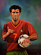 Soccer Goal Framed Prints - Luis Figo Framed Print by Paul  Meijering
