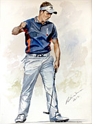 Luke Donald Paintings - Luke Donald Race to Dubai 2011 by Mark Robinson