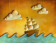 Sail-ship Posters - Lullaby Bay Poster by Cindy Thornton
