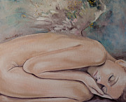 Figurative Painting Posters - Lullaby Poster by Dorina  Costras
