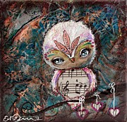 Original Owl Print Framed Prints - Lullaby Framed Print by Lizzy Love of Oddball Art Co