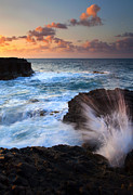 Blowhole Prints - Lumahai Sea Explosion Print by Mike  Dawson