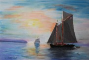 Tall Ship Drawings Prints - Lumber Schooner Leaving Mosquito Lagoon Print by Bill Hubbard