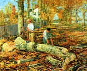 Autumn Scene Digital Art Framed Prints - Lumbering 1903 Framed Print by Frederick Childe Hassam