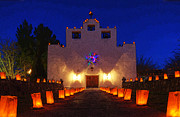 Saint Christopher Photo Prints - Luminaria Saint Francis De Paula Mission Print by Bob Christopher