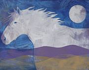 Mustang Paintings - Luna by Carol Jensen and Buggs The Equine Artist