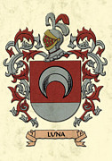 Military Families Prints - Luna Coat of Arms Original Artwork Print by Arco Montufar