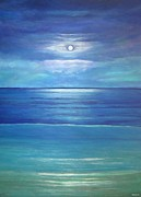 Sea Moon Full Moon Painting Originals - Luna del Mar by Maureen Schmidt