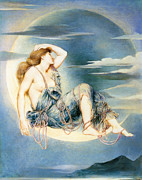 Sitting  Digital Art Posters - Luna Poster by Evelyn de Morgan