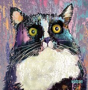 Tuxedo Cat Digital Art - Luna by Marlene Watson