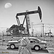 American Oil Wells Posters - Luna Oil - B W Poster by Chuck Staley