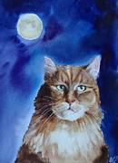 Cat And Moon Paintings - Lunar Cat by Kym Stine
