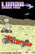 Neil Armstrong Moon Prints - Lunar Grand Prix 1969 Print by Nomad Art And  Design