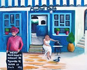 Greek Islands Framed Prints - Lunch at the Mylos Cafe - SOLD Framed Print by Therese Alcorn