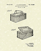 Basket Drawings Prints - Lunch Basket 1937 Patent Art Print by Prior Art Design