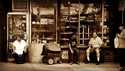 Black Commerce Art - Lunch Break - Street Scene in Sepia by Miriam Danar