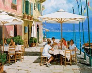 Portofino Cafe Painting Prints - Lunch in Portofino Print by Michael Swanson