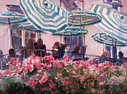 Balcony Painting Framed Prints - Lunch Under Umbrellas Framed Print by Kris Parins